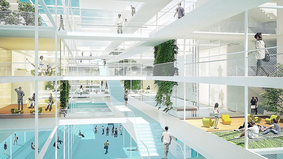 Ansicht Architerktur Innen + woodland office | Visualisierung caramel architekten zt gmbh
