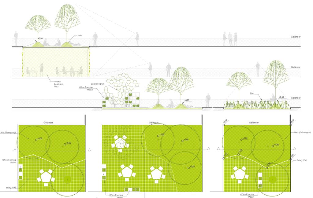 woodland office = Arbeits-  u. Relaxflächen über Waldboden | unter Bäumen