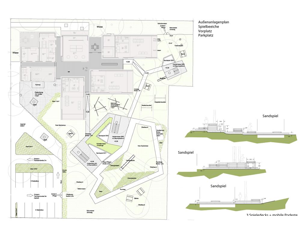 EG Plan Landschaftsarchitektur / Vorplatz + Spieldecks